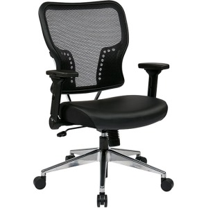 AirGrid Back and Padded Eco Leather Seat with 4-Way Adjustable Flip-Arms