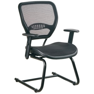 Professional Dark Air Grid Seat and Back Visitors Chair