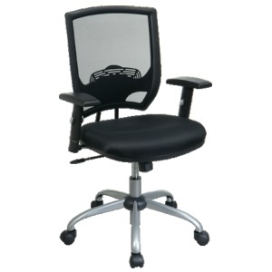 Screen Back Chair with Mesh Seat and Silver Finish Base