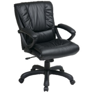 Mid Back Executive Leather Chair with Padded Loop Arms