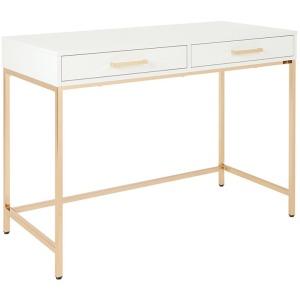 Alios Desk - White with Gold Frame
