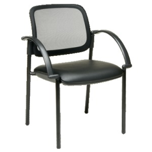 Screen Back and Faux Leather Seat Visitor\'s Chair with Arms