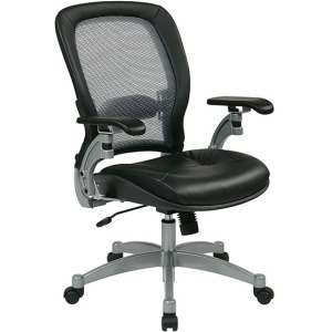 Professional Light Air Grid Back Chair with Leather Seat