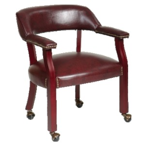 Traditional Guest Chair with Wrap Around Back and Casters
