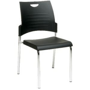 Straight Leg Stack Chair with Plastic Seat and Back