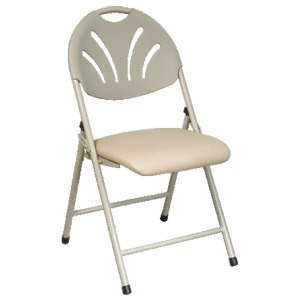 Beige Folding Fan Plastic Back Chair with Beige Mesh Seat (4 Pack)