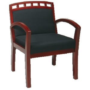 Cherry Finish Leg Chair with Upholstered Wood Crown Back