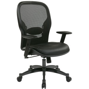 Professional Breathable Mesh Back Chair with Leather Seat
