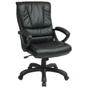 High Back Executive Leather Chair with Padded Loop Arms