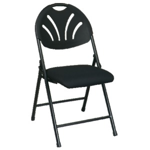 Black Folding Fan Plastic Back Chair with Black Mesh Seat (4 Pack)