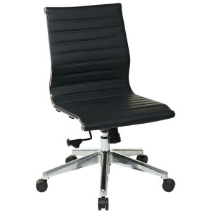 Armless Mid-Back Black Eco Leather Chair