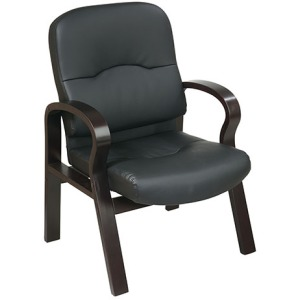 Eco Leather Visitors Chair with Espresso Wood Finish Base and Arms