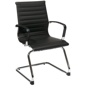 Mid-Back Black Eco Leather Visitors Chair