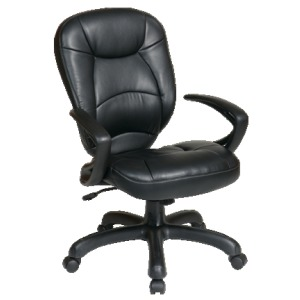 Deluxe Faux Leather Oversized Task Chair with Padded Arms