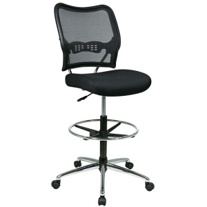 Deluxe Dark AirGrid Back Drafting Chair with Chrome Finish Base