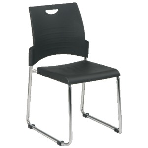 Sled Base Stack Chair with Plastic Seat and Back