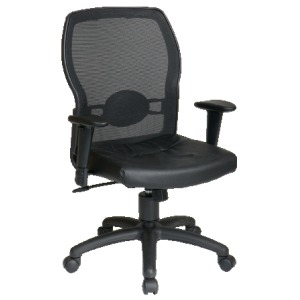 Woven Mesh Back Chair with Black Leather Seat