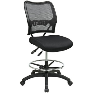 Deluxe Dark AirGrid Back Drafting Chair with Black Mesh Seat and Dual Function