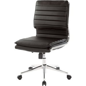 Mid Back Armless Chair w/Black Faux Leather & Chrome Base