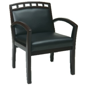 Espresso Finish Leg Chair with Upholstered Wood Crown Back