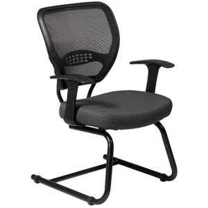 Professional Dark Air Grid Back Visitors Chair with Custom Fabric Seat
