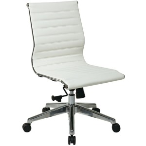 Armless Mid-Back White Eco Leather Chair