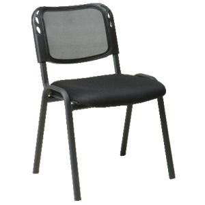 Armless Stacking Chair with Black Mesh Screen Back