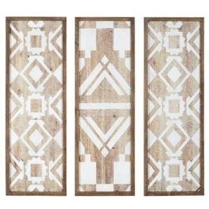 Natural Mandal Printed Wood Wall Decor Set of 3