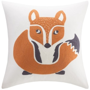 Foxy Embroidered Square Pillow