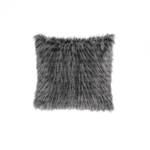 Edina Faux Fur Square Pillow - Black