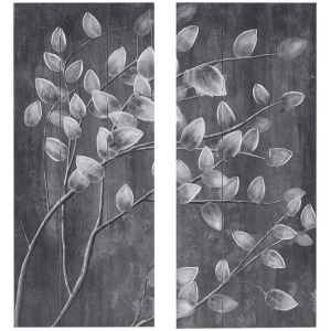 Grey Branches Print on Wood with 50% Hand Painted 2 Piece Set