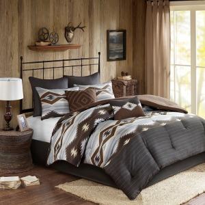 Bitter Creek Oversized Queen Comforter Set - Grey/Brown