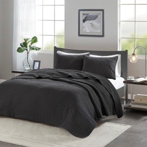 Keaton Reversible Coverlet Set - Full/Queen - Black