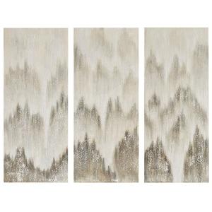 Sterling Mist 100% Hand Brush Embellished Canvas 3 Piece Set - Grey