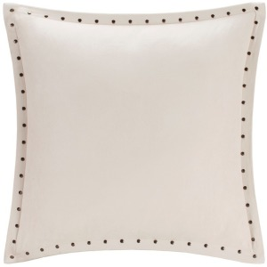 Alban Stud Trim Microsuede Square Pillow - Ivory