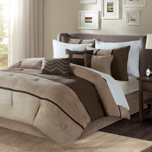 Palisades 7 Piece Faux Suede Comforter Set - King - Brown