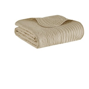 Tuscany Oversized Quilted Throw with Scalloped Edges - Khaki