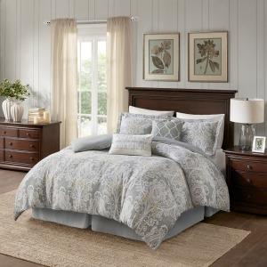 Hallie 6 Piece Cotton Queen Comforter Set - Grey