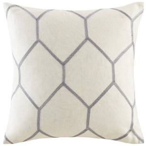 Brooklyn Metallic Geo Embroidered Pillow Pair - Grey