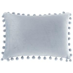 Juni Poly Velvet Pom Pom Oblong Pillow - Light Grey