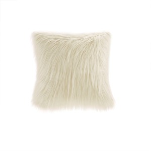 Edina Faux Fur Square Pillow - Ivory