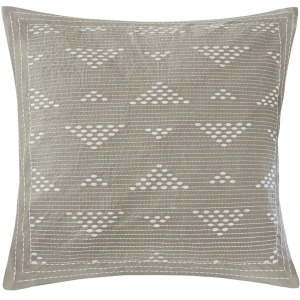 Cario Embroidered Square Pillow - Taupe
