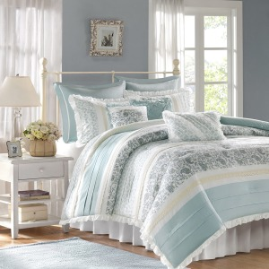 Dawn 9 Piece Cotton Percale Comforter Set -Queen