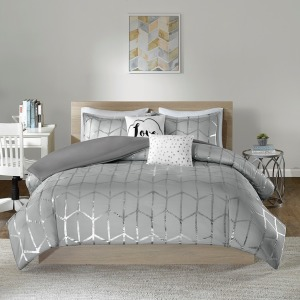 Raina Metallic Printed Duvet Cover Set - King/Cal King