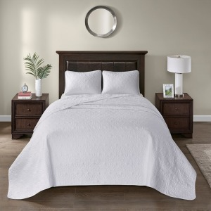 Quebec King Reversible Bedspread Set - White
