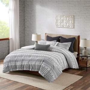 Rhea Cotton Jacquard Comforter Mini Set - Full/Queen - Grey