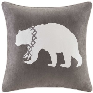 Bear Embroidered Suede Square Pillow Square Pillow - Grey