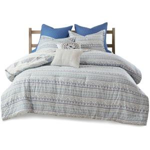 Rochelle 7 Piece Cotton Reversible Full/Queen Comforter Set - Blue