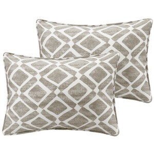 Delray Diamond Printed Oblong Pillow Pair - Grey