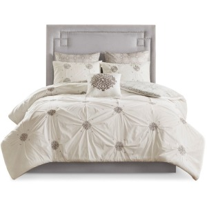Malia 6 Piece Embroidered Cotton Reversible Full/Queen Comforter Set - Ivory